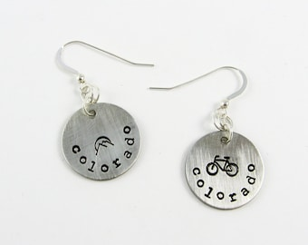 Colorado Jewelry: Souvenir Earrings with US State Name, Bike, and Mountains