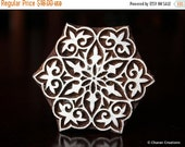 THANKSGIVING SALE Indian Wood Block Stamp, Tjaps, Hand Carved stamp, Pottery stamp, Textile Stamp- Round Floral, Mandala