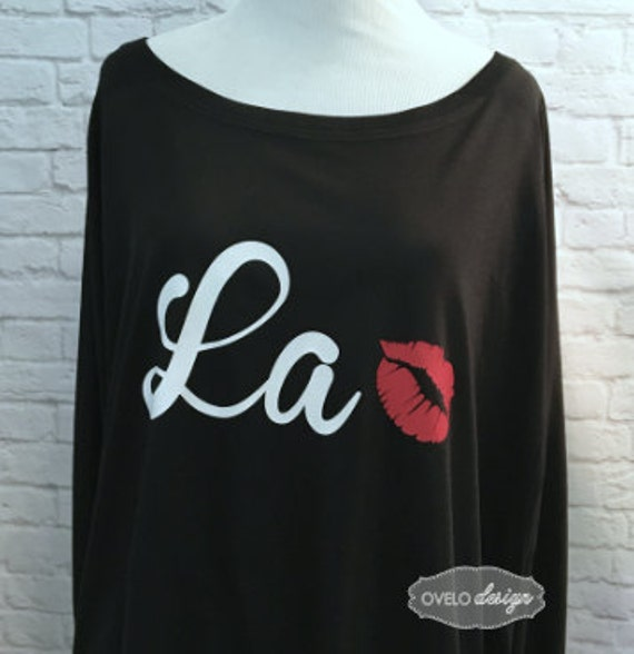 La with kiss mouth Flowy off the Shoulder Long Sleeve T-shirt