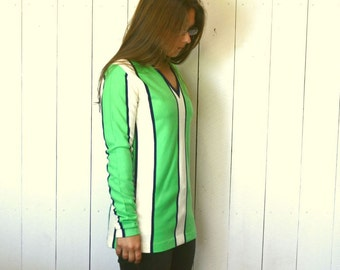 Striped Tunic Top 1960s Super Mini Dress Vintage Green White Knit V-Neck Hippie Mod Go-Go Style Medium