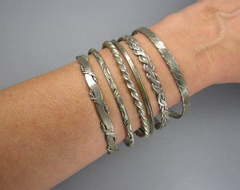 Mexican Bangle Lot, Patterned Bangles, Alpaca, Mixed Metals, Gypsy Bangle Bracelets, Bangle Stack