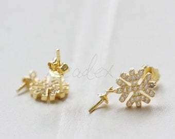 2 Pieces (One Pair) / Gold Plated / 925 Sterling Silver / Flower Earring Post / with Rhinestone