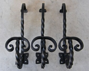 1 FRENCH COAT HOOK Top for Hat Bottom for Coat Black Wrought Iron Twisted Rope Design 4 Screw Holes Made in France 1950-1970's