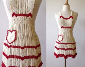 30's Red Heart Sexy Valentine Crochet Apron