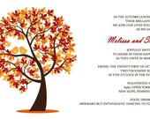 RUSH Autumn Love Birds Wedding Invitations - Fall Wedding Invitation - Autumn - Custom Listing for Meslissa Paul