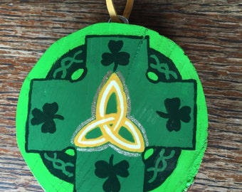 Irish Ornament, Celtic Style Cross, Celtic Trinity Symbol, Handpainted Wooden Ornament, Shamrock, St. Patrick, Christian