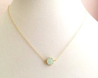 Gold Seafoam Mint Necklace. Mint Necklace. Light Mint.Mint Green.Bridesmaid Necklace.Bridal Jewelry.Bridesmaid Gift.Wedding.Delicate.Dainty