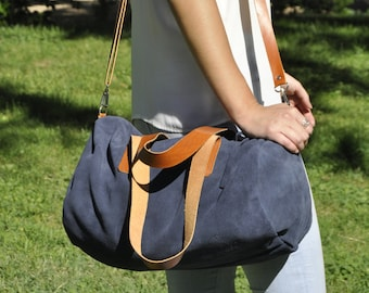 READY to SHIP leather bag - TUBO model in navy blue leather