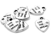 """Silver Charms : 25 Antique Silver Heart """"Live The Dream"""" Charms 