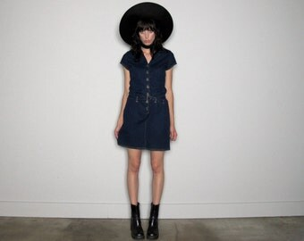 Dark Denim Stretch Dress Denim Button Front 90s Mod Grunge Mini Dress VTG - Size M