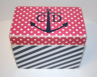 Recipe Box, Pink and Navy Recipe Box, Anchor Box, 4x6 Recipe, Nautical Box, Polka Dot Recipe Box, Personalized Wedding Guest Book Box