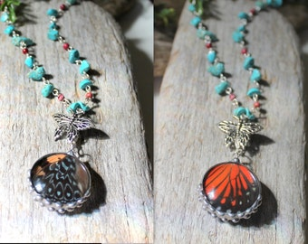Red Butterfly Wing Reversable Necklace, Turquoise Beaded Necklace, Hamadryas amphinone Butterfly