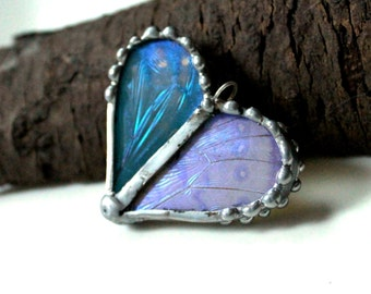 Real Butterfly Wing Heart Shaped Pendant - Blue and Lavender Butterfly