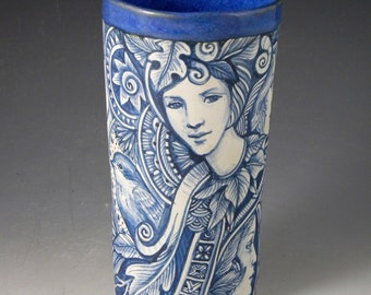 Story vase blue and white with intricate painting one of a kind ceramic