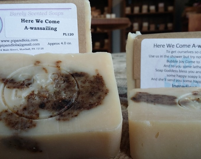 Here We Come A-Wassailing --  All Natural Soap, Handmade Soap, Barely Scented Soap,  Vegetarian Soap