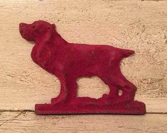 Vintage Decorative Dog Figurine - Flocked Metal Dog Ornament - Pointer or Spaniel