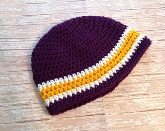Minnesota Vikings Football Beanie Hat/Purple/Gold/White Beanie Hat (fits baby to adult)
