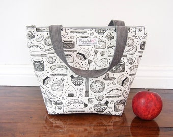 Insulated Lunch Tote Bag with Waterproof Lining - Sushi (Choose Your Size)