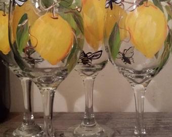 Hand painted lemon wine glasses