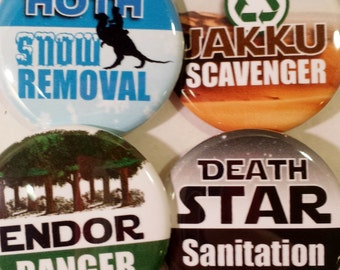 Star Wars inspired buttons OR magnets, Set of 4