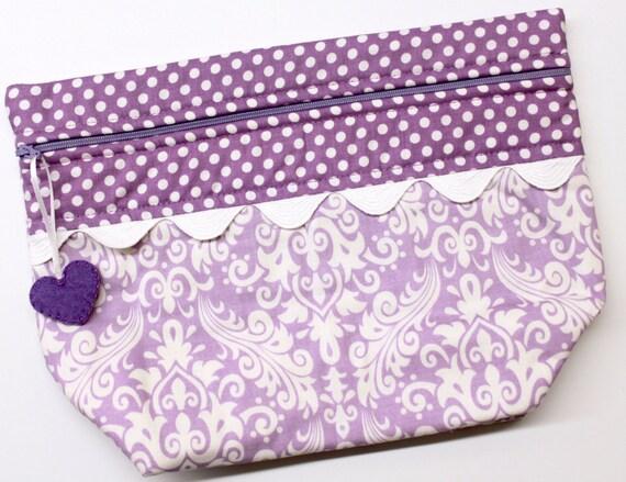 Lil' Big Bottom Purple Damask Cross Stitch Embroidery Bag