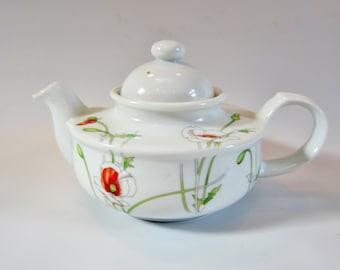 Vintage Teapot Ceramic TOSCANY PRELUDE Mini Size Japan POPPIES 1970s