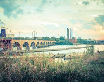 Minneapolis Minnesota Stone Arch Bridge Dreamy Urban Landscape