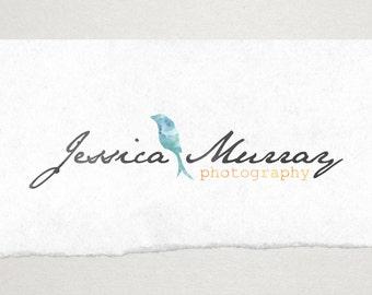 Premade Logo // Logo Design // Business Logo //  Photography Logo // Watercolor Logo // Bird Silhouette Logo