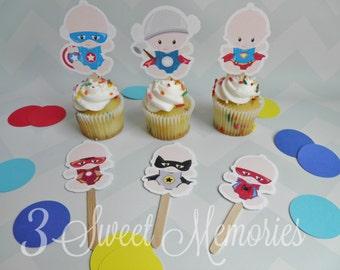 Superhero Baby Shower Cupcake Toppers- 1st Birthday