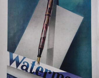 Vintage French Ad Waterman Pens 1937