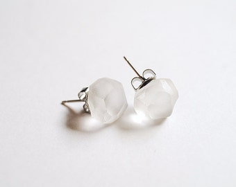 Stud earrings, Faceted stud earrings, Frosted Clear Glass Studs, Transparent matte glass stud earrings