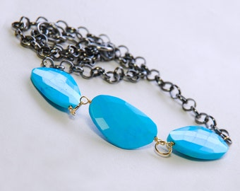 Rose Cut Turquoise Necklace by Agusha.  Turquoise Necklace. Oxidized Necklace. Gemstone Necklace