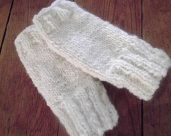 luxury ecru HANDKNITTED  fingerless GLOVES, handspun wool- acrylic yarn