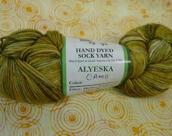 Pagewood Farm Hand Dyed Sock Yarn, Merino,Cashmere,Nylon, Color Camo