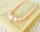RESERVED for Kris -Vintage Pale Pink Moonglow Beaded Necklace Graduated Strand 1950's Dainty necklace pink Beads Pastel Retro