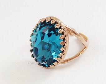 Rose Gold Indicolite Ring - Rose Gold Large Oval Swarovski Crystal Teal Blue Statement Cocktail Ring