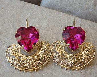 Heart Shaped Earrings, Gold Pink Swarovski Earrings, Bridal Fuchsia Earrings, Vintage Style Earrings, Drop Gold Earrings. Bridesmaid Gift