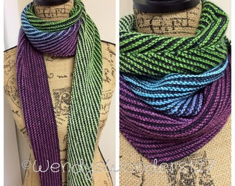 Knit scarf, Multi-colored scarf, Hand Knit Scarf, Light-Weight Scarf, Wool Scarf, Womens Gift