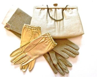 Vintage metallic gold lame gloves and purse, After Five, glove and purse set, made in USA