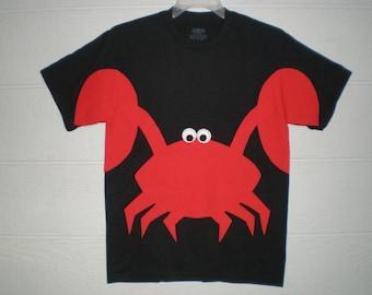 Crab T-shirt, beachwear, adult size tshirt, crabby shirt, fun shirt, short sleeve tee, summer shirt, summer clothing, kawaii shirt