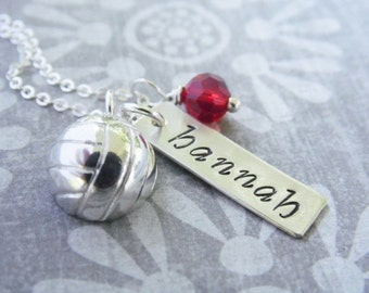 Necklace with Hand Stamped Name and Sterling Silver Volleyball Charm
