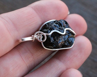 Black Tourmaline Silver Wire Wrapped Pendant  #6295