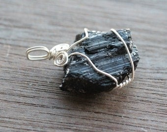 Black Tourmaline Wire Wrapped Pendant  #3357