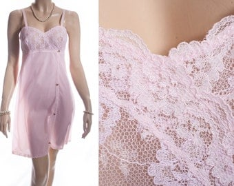 Adorable 'St Michael Blue Label' as new rose pink silky soft double layer nylon and delicate lace detail 60's vintage slip petticoat - 3603