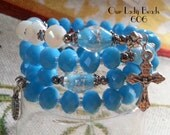 Rosary Bracelet Wrap,Turquoise Blue Rosary,Religious Gift,Catholic Jewelry,Confirmation,First Communion,Gift for Her,by Our Lady Beads,#606