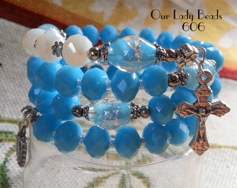 Rosary Bracelet Wrap,Turquoise Blue Rosary,Religious Gift,Catholic Jewelry,Confirmation,First Communion,#606