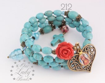 Rosary Bracelet Wrap,Wrist Rosary Bracelet,Dyed Howlite,Religious Jewelry,Bridal,Catholic Bracelet,Confirmation,Mother's Day,Godmother,#212