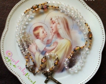 Rosary,Snow Glass Rosary,Rosaries,Religious Gifts,Catholic Gifts,Confirmation Gifts,First Communion,Mother's Day Gift,Godmother's Gift,#R37