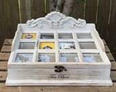 Tea Box - Bridal Gift - Tea Caddy - Jewelry Box - Trinket Box - Wood Tea Box - Antique Tea Box - Tea Storage Box - Tea Bag Storage Box