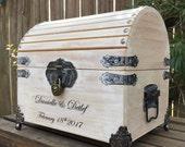 """Medium Wedding Card Box - 10"""" x 8"""" x 8 1/2"""" - Wedding Card Box W/Lock - Wedding Chest - Wedding Trunk - Personalized Wedding Box"""